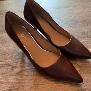 Linea Paolo brown pointed toe heels